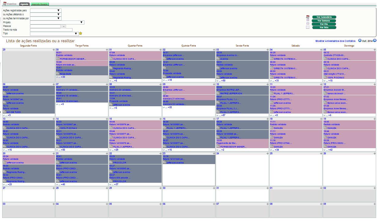 O módulo de Agenda corporativa integrada ao APLWeb, permite uma visualização mais fácil de eventos importantes que aconteceram ou que virão a acontecer, como visitas, o vencimento de contas a pagar e receber ainda não pagas, recebimento de compras e chamadas para clientes.E ainda permite acompanhar eventos do dia a dia dos usuários como auditoria. É possível auditar qualquer operação feito por usuários, rastreando de forma simples e visível por usuários que tenham acesso em formatos de calendário semanal, mensal, quinzenal ou em lista. Diferente de Logs em arquivos no formato texto, como é comum em alguns sistemas, essa forma de exibir os dados de auditoria permite que usuários leigos sem conhecimento em computação consigam analisar claramente todas as ações.