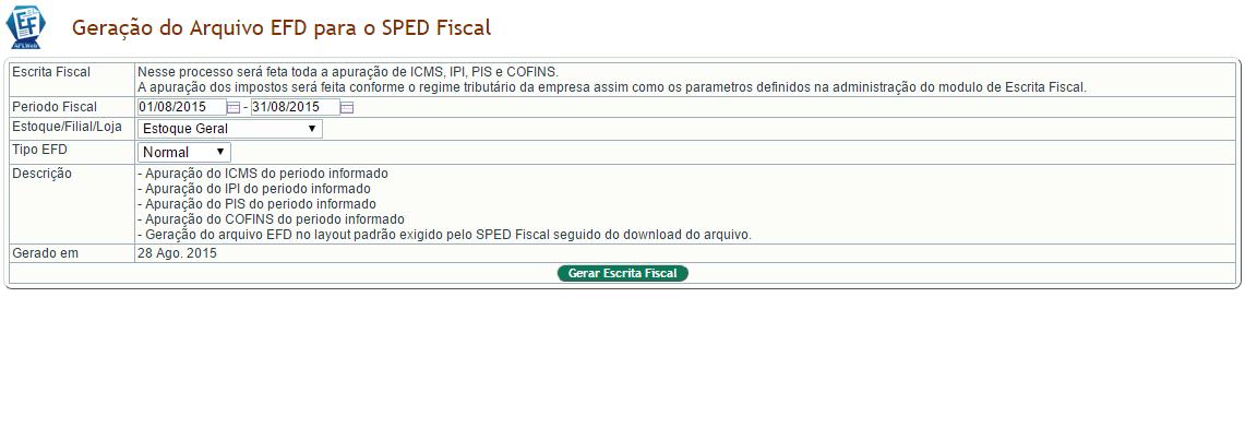 Geração do EFD para o SPED Fiscal